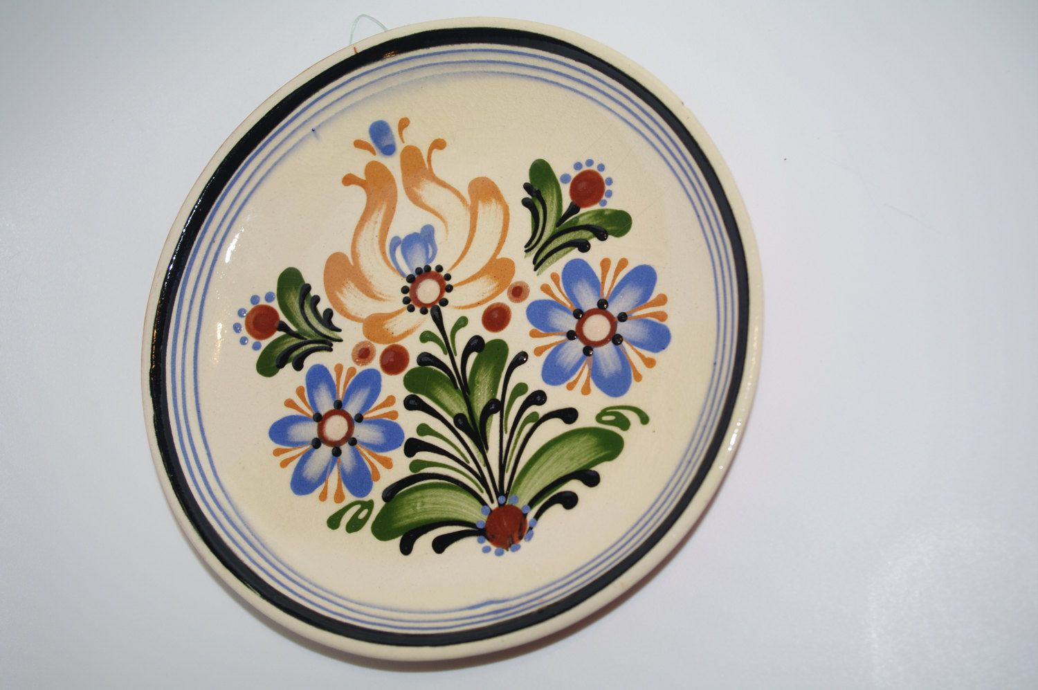 Ukrainian ceramic Wall Plate Ukrainian pottery Floral Plate Decorative plate Hand Painted Antique wall dish Folk Flowers Bohemian pottery 70 by VintagePolkaShop on Etsy