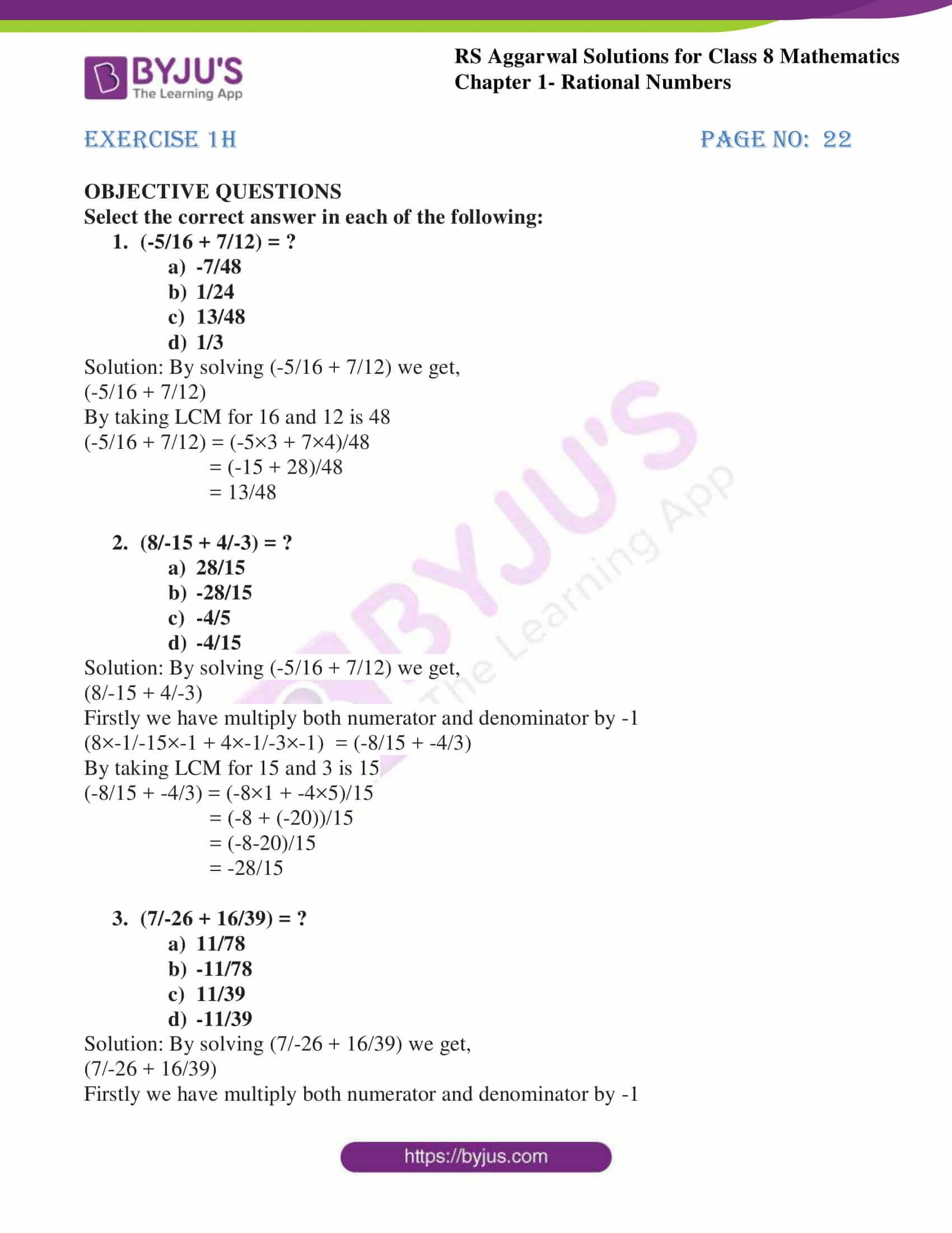 Rs Aggarwal Solutions Class 8 Maths Chapter 1h Rational Numbers Math Class 8 [ 2200 x 1700 Pixel ]