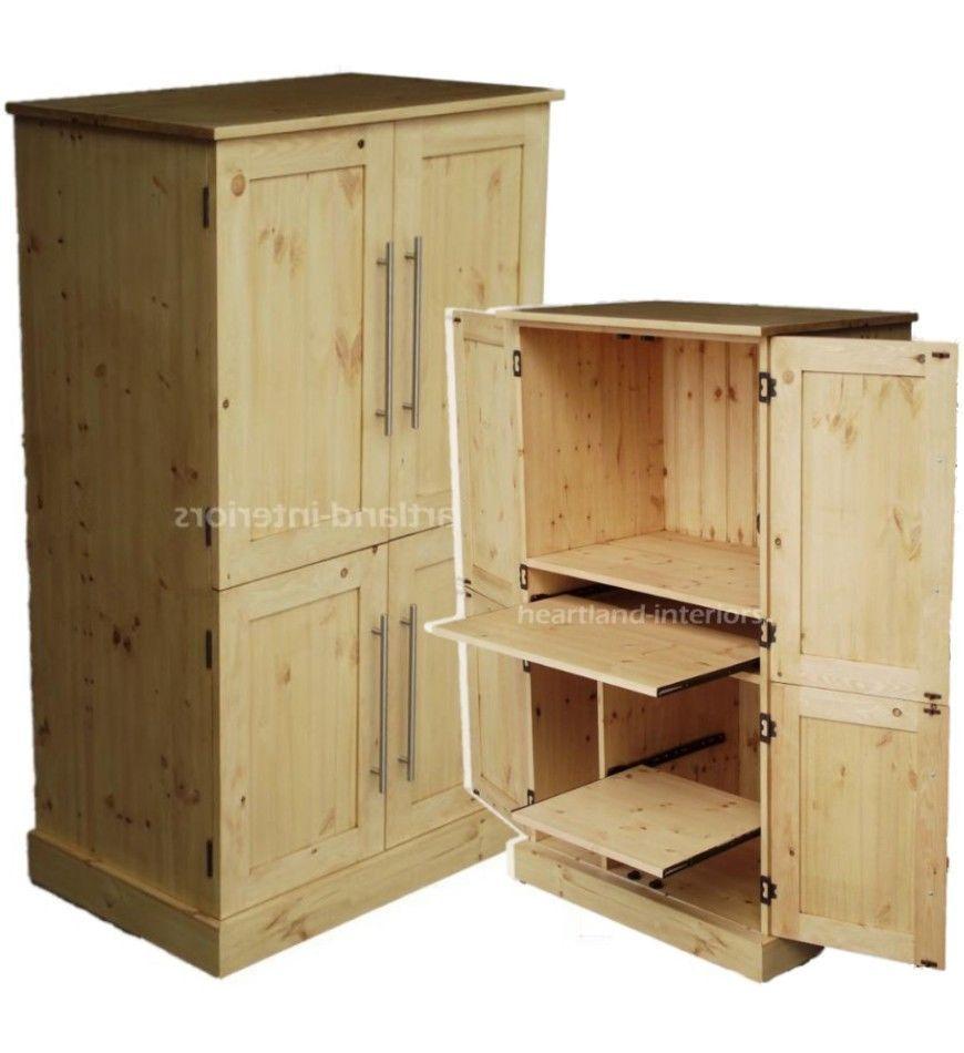 Waxed Solid Pine Wood Computer 4 Door Hide-away Desk