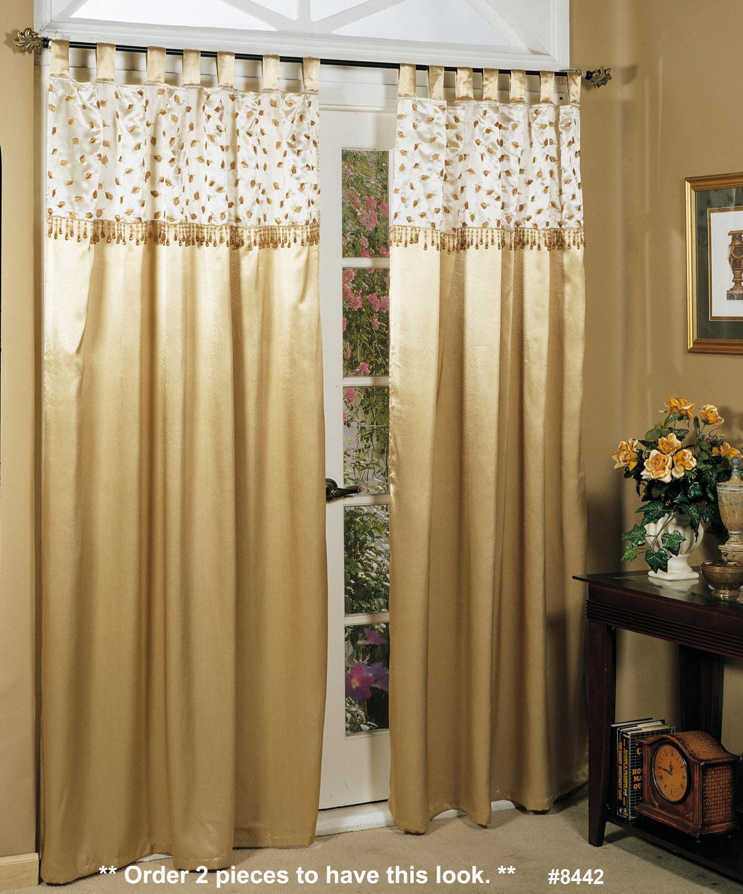 Holiday Fall Autumn Golden Leaf Beaded Window Curtain Panel 56 X