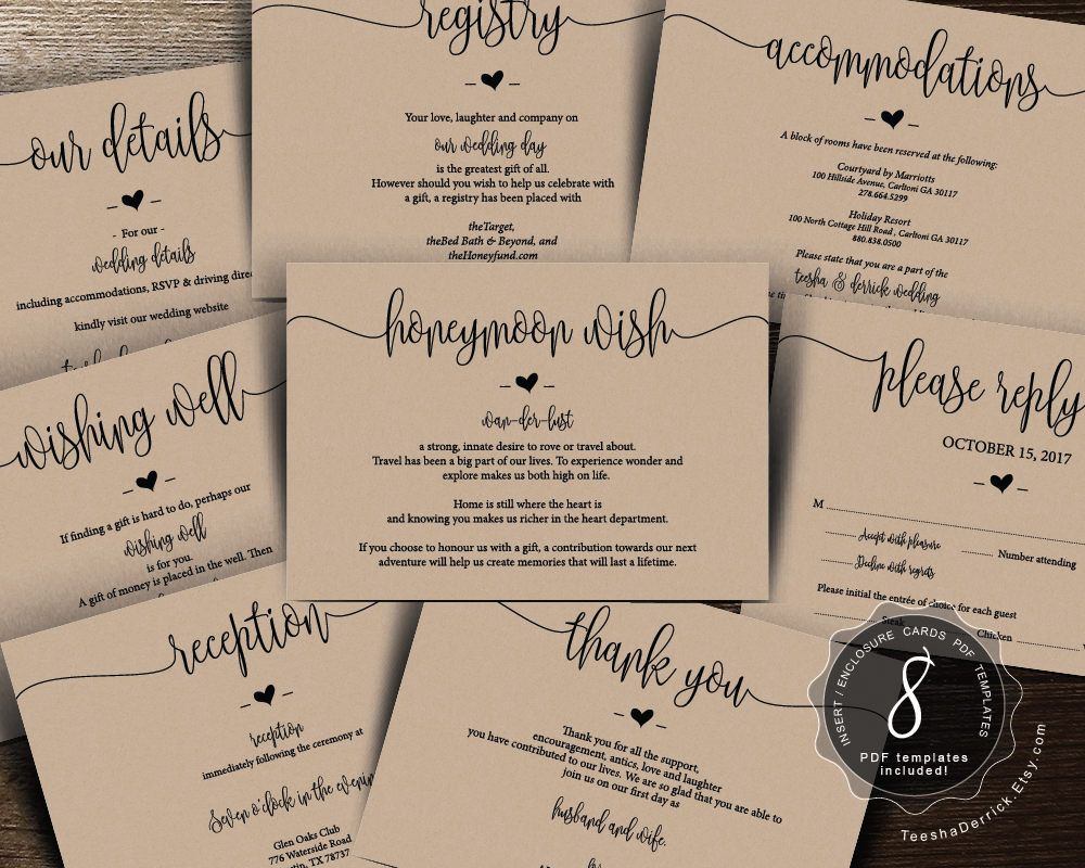 Wedding Insert Cards Pdf Template Instant Download Enclosure Card Honeymoo Wedding Invitation Inserts Wedding Invitations Modern Wedding Invitation Wording