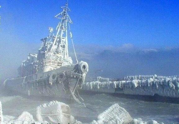 Abandoned ship, left in Antartica