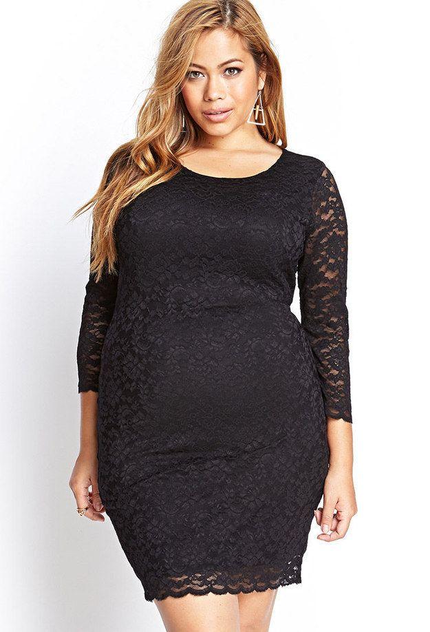 27 fabulous plus size little black dresses under $50 | floral lace