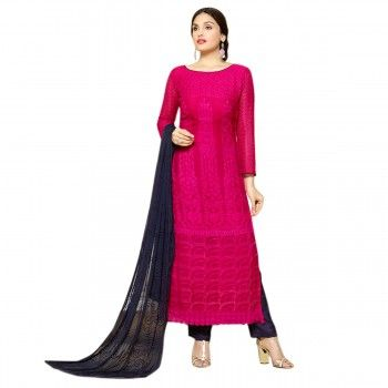 Chiffon Pink Unstitched Pant Style Suit - 70937 | Charming Pink ...
