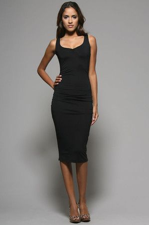 The Shirred Sheath Dress in Black by Lotta Stensson at ...