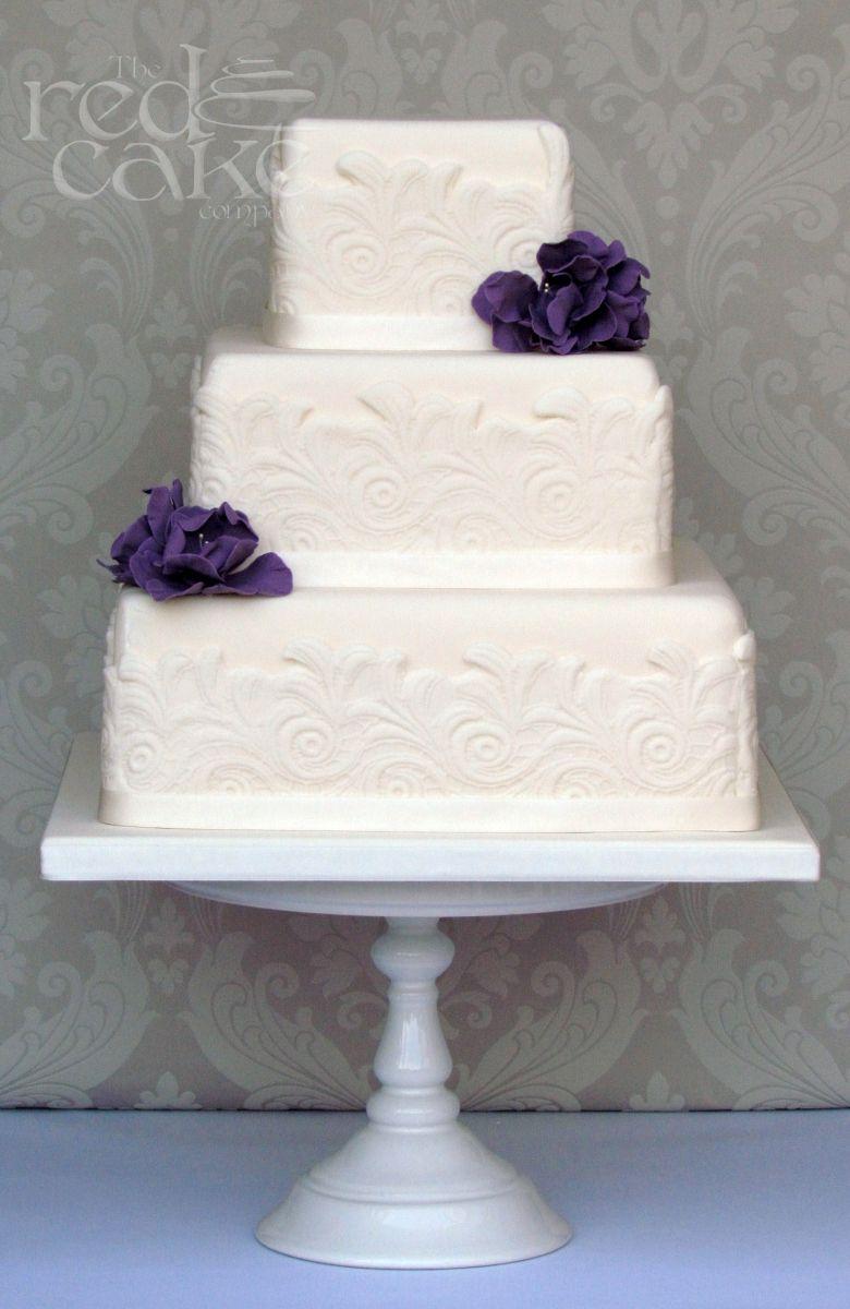 Simple Square Wedding Cakes | Ivory Square Lace Wedding Cake ...