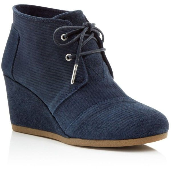 7fd4fd1327d Toms Corduroy Suede Desert Wedge Booties ( 62) ❤ liked on Polyvore  featuring shoes