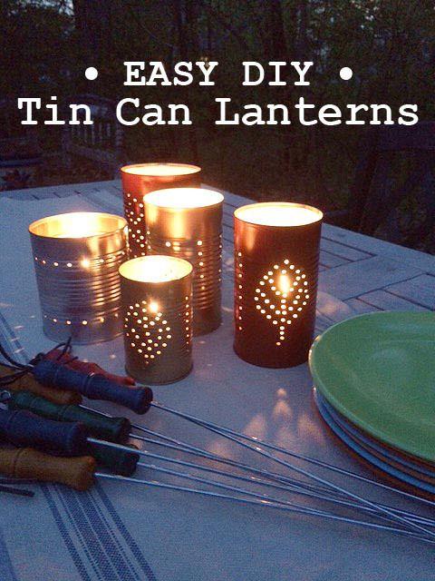 Easy DIY Tin Can Lanterns tutorial - A beautiful rustic craft idea for summer decor or a backyard party