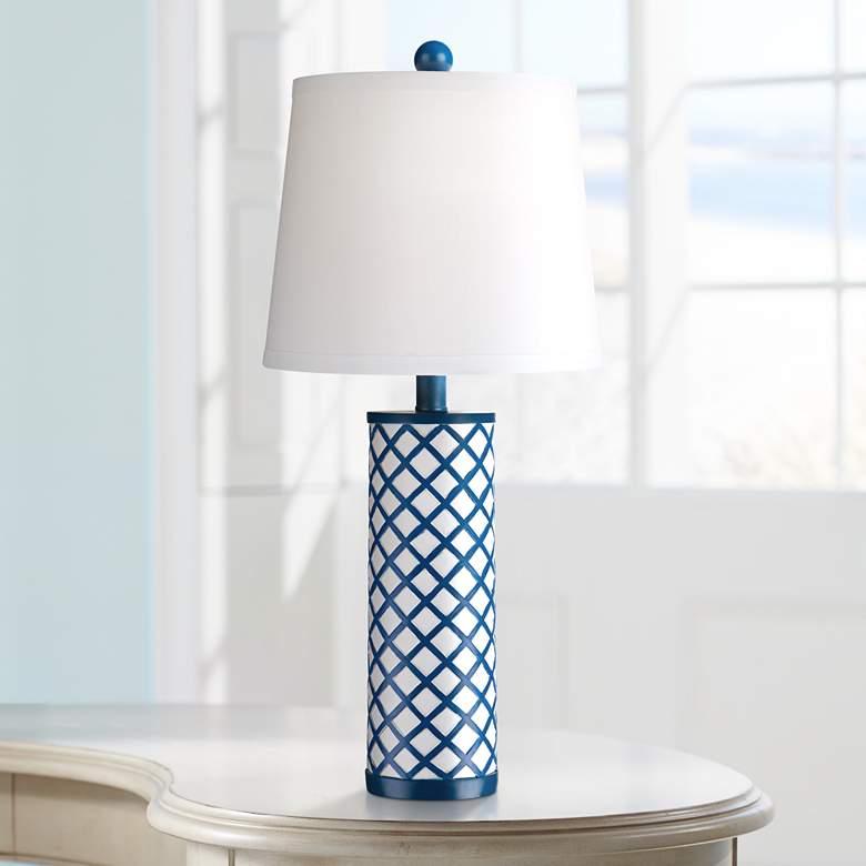 Gisele Blue Lattice Column Table Lamp 2y045 Lamps Plus In 2020 Modern Table Lamp Table Lamp White Lamp Shade