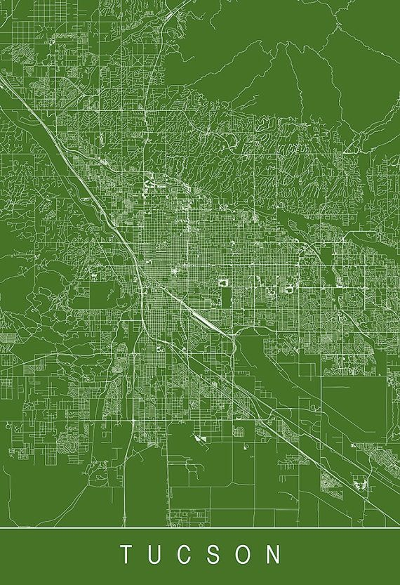 graphic about Printable Map of Tucson Az named TUCSON MAP PRINT - Progressive Town Print Artwork - Customizable Metropolis