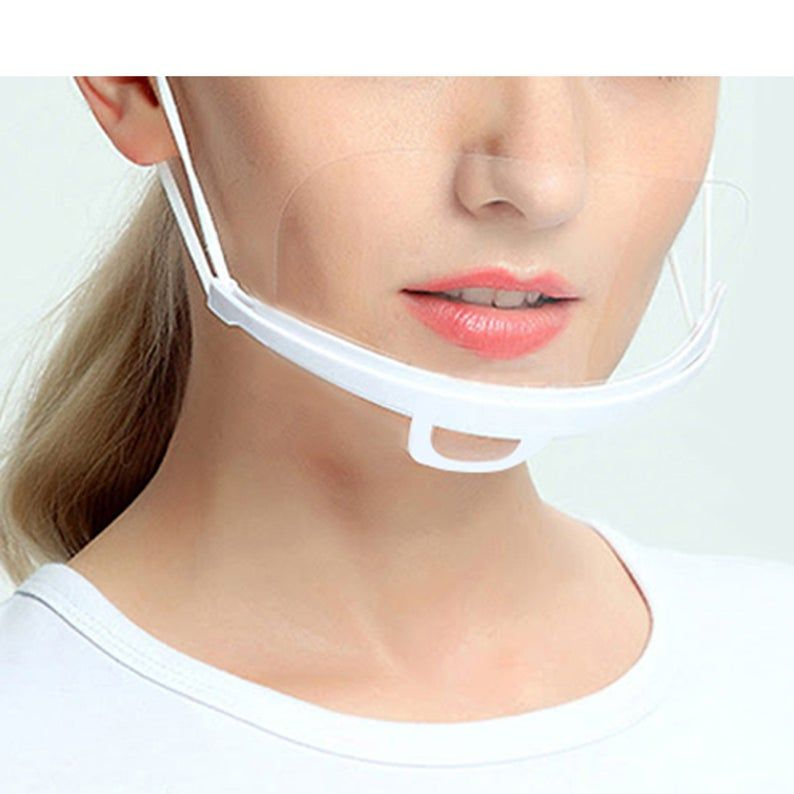 Smile Facemask Adults Reusable Breathable Face Protection ᴍᴀsᴋ Clear Vinyl Visible Mouth Expression Transparent Veil Cover