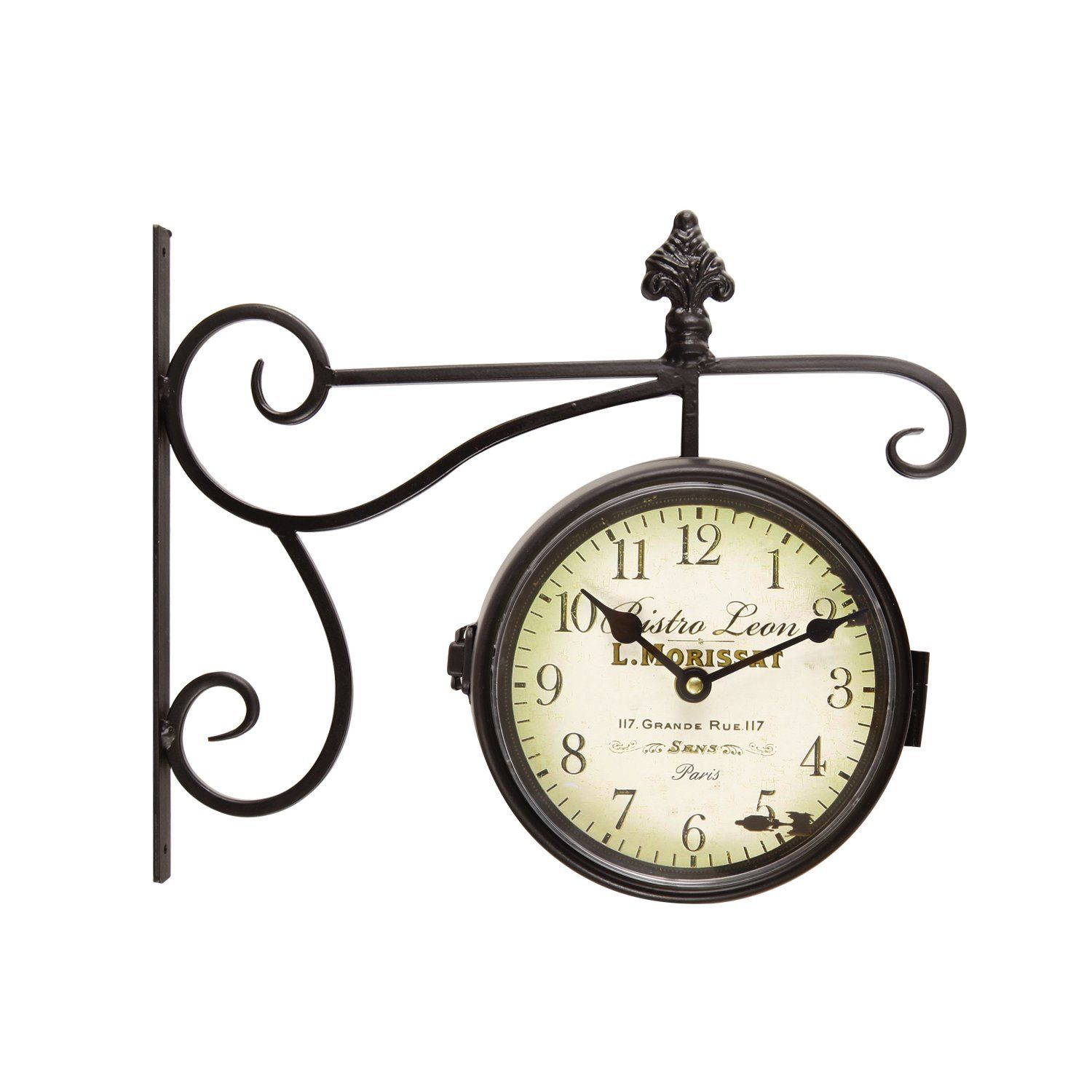 Adeco Black Iron Round Double Sided Wall Hanging Clock with Scroll