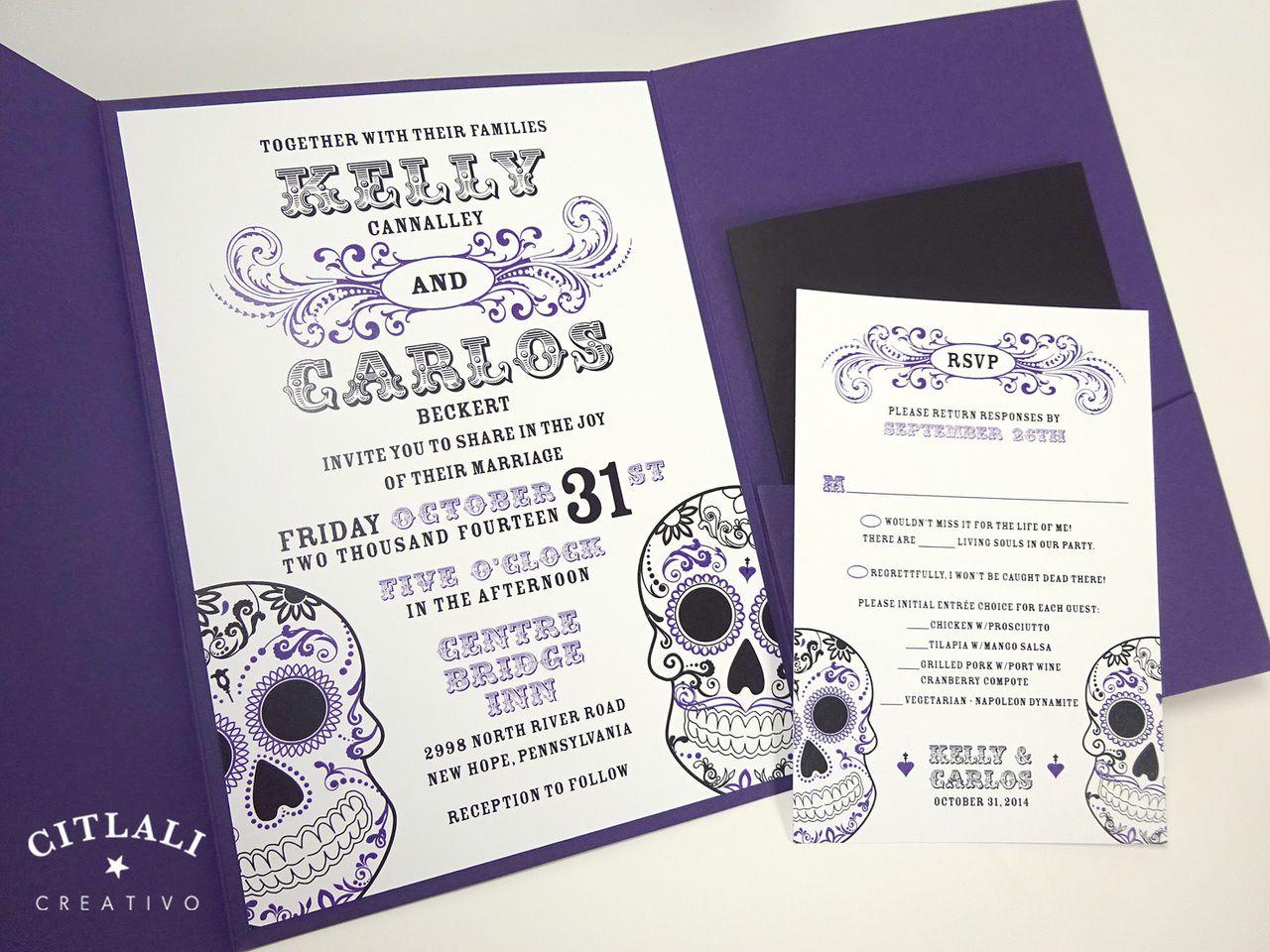 Black & Red Day of the Dead Sugar Skull Flourish Wedding Invitations ...