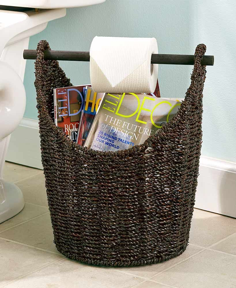 Toilet Paper Dispenser And Storage Magazine Rack Bathroom Seagrass Basket Toilet Toilet Paper Dispenser Storage