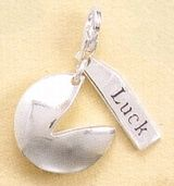 """""""Sterling Silver Charm, 3/4 inch, Fortune Cookie and Luck, Lobster Clasp""""  $45"""