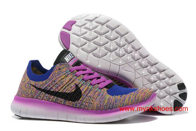 premium selection 00c14 13e7d WMNS Nike Free RN Flyknit Blue Purple Rainbow Ultra-light Running  Shoes 74.00