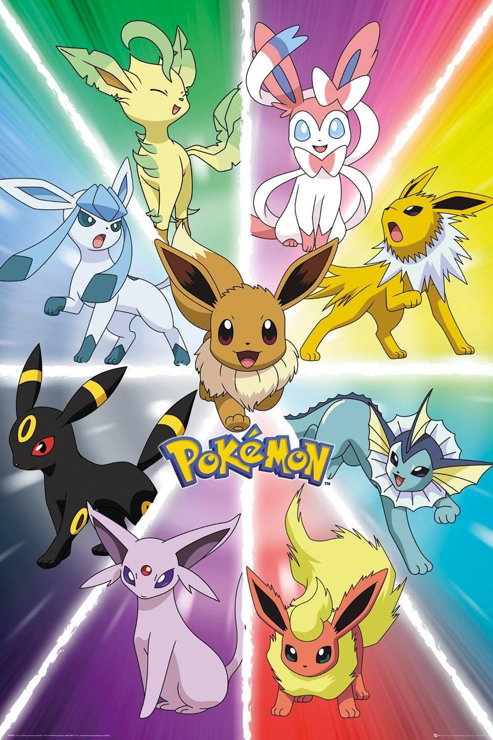 Pokemon Eevee Evolution Maxi Poster Posterafdrukken Pokemon Afbeeldingen Anime