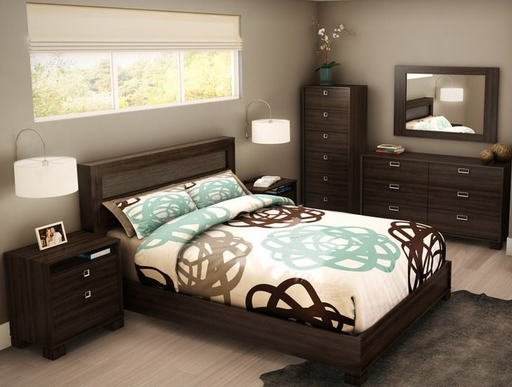 Bedroom modern tropical bedroom design small room with Dark brown walls bedroom