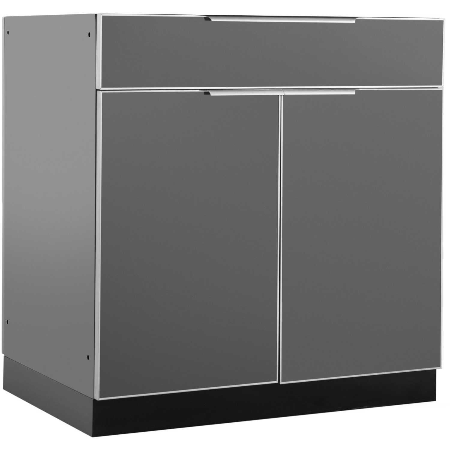 Newage Outdoor Kitchen Slate Gray Aluminum 32 Inch Bar Cabinet 65203 Bbqguys Outdoor Kitchen Cabinets Modular Outdoor Kitchens Newage Products
