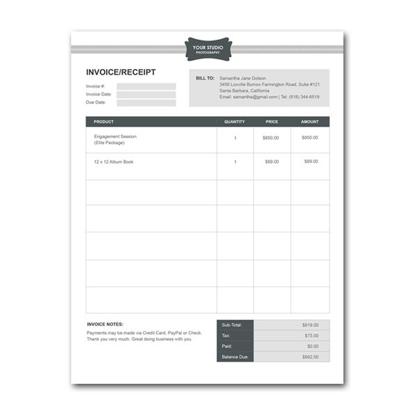 Squijoo - Photography Studio Order Form Template Photography - downloadable receipt