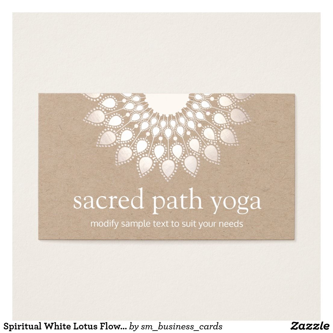 Spiritual White Lotus Flower Mandala Yoga Teacher Business Card ...