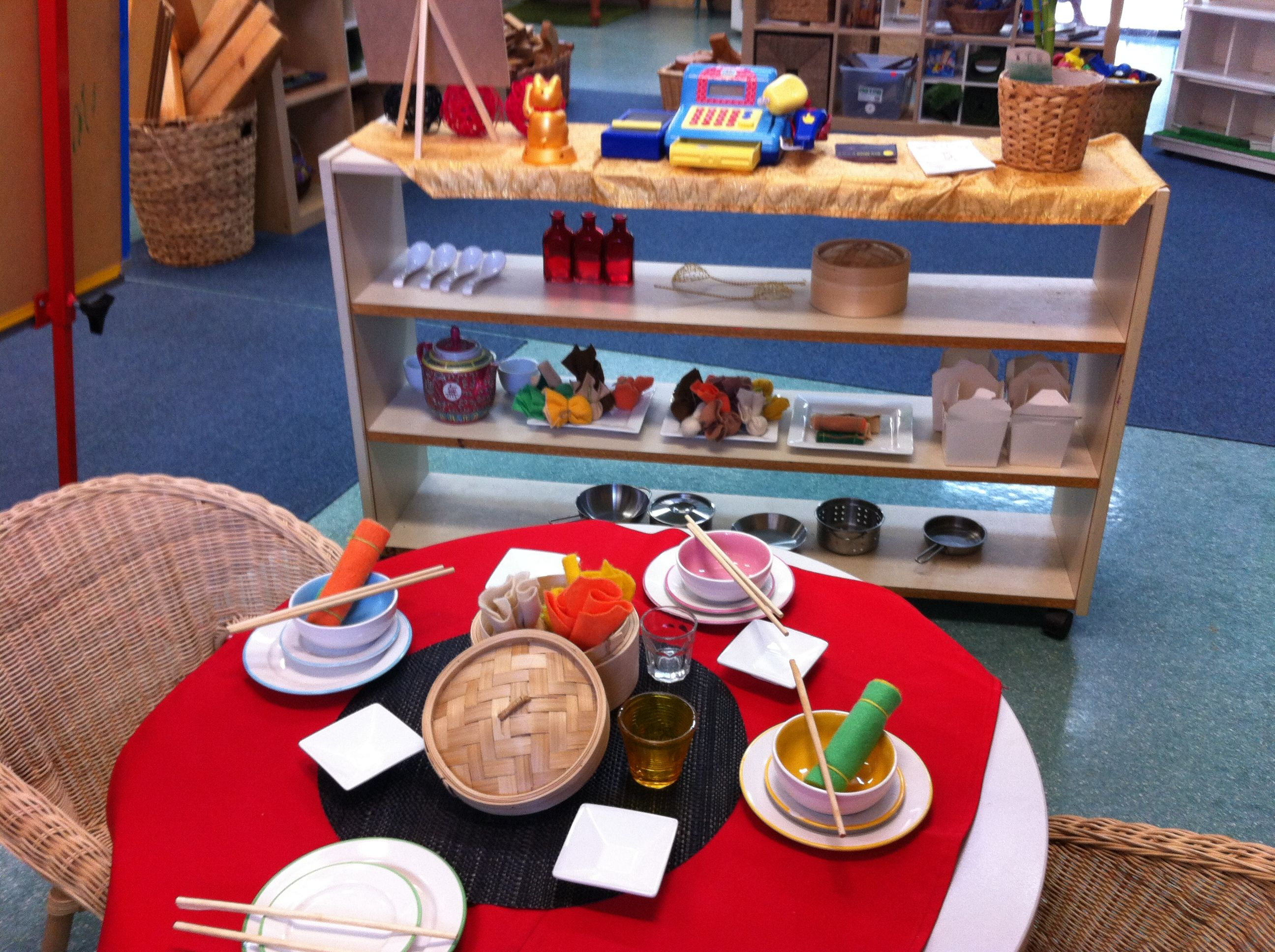 Asian restaurant for my home corner dramatic play