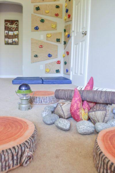 playroom campfire and climbing wall