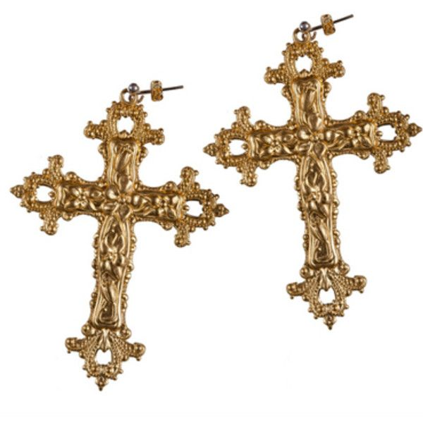 Rock N Rose Gabrielle Baroque Cross Earrings (2.260 RUB) ❤ liked on Polyvore featuring jewelry, earrings, metallic, baroque jewelry, earrings jewelry, floral earrings, vintage cross earrings and baroque earrings