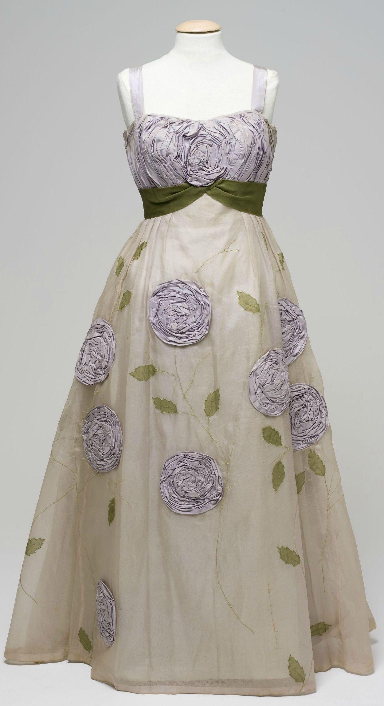 Evening Dress Hartnell Of Melbourne Melbourne Australia Ca 1957 1960 Silk Trims Dresses Vintage Dresses Vintage Outfits