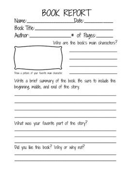 Book Report Form for 2nd, 3rd, and 4th grade students | School ...