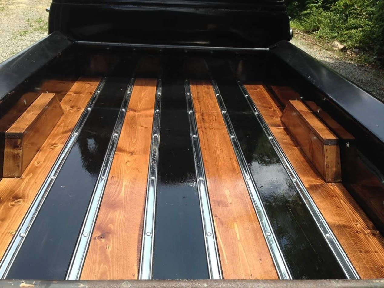 Truck 57 chevy truck bed wood : alternating wood stain colors on wood bed floor panels with wooden ...