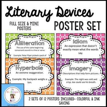 Literary Devices Colorful Posters Pinterest Alliteration Simile