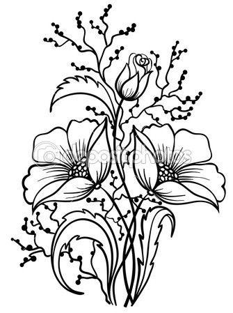 Arranjo De Flores Preto E Branco Desenho De Linhas De