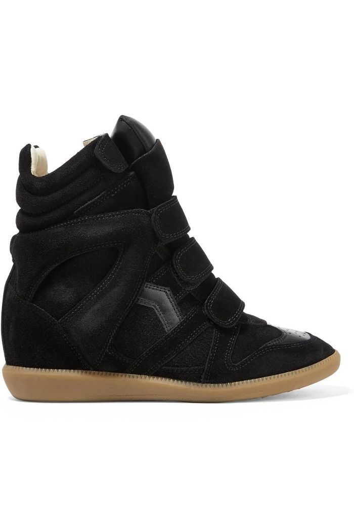c0b1754cc4e Isabel Marant Bekett Leather-Trimmed Suede Wedge Sneakers