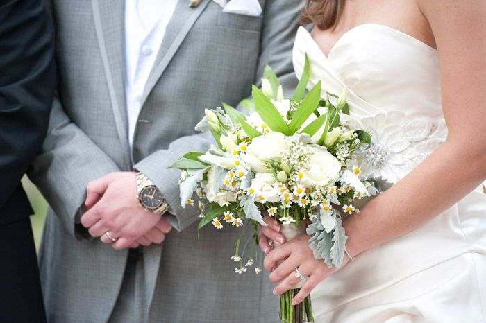 Bridal Bouquet: White roses, white lisianthus, fever few, white wax ...