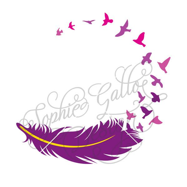 feather birds tattoo svg dxf png digital download files silhouette rh pinterest com feather with birds clip art Flying Bird Clip Art