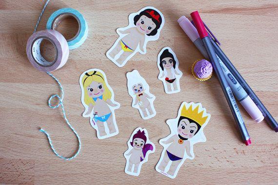 Set 6 stickers Sonny Angel x Disney : Alice + Blanche-Neige + Méchante Reine