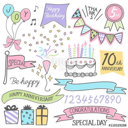 ベクター 手書き風 アニバーサリー 周年 記念 デザイン点 メッセージカード 誕生日 イラスト 手書き バースデーカード