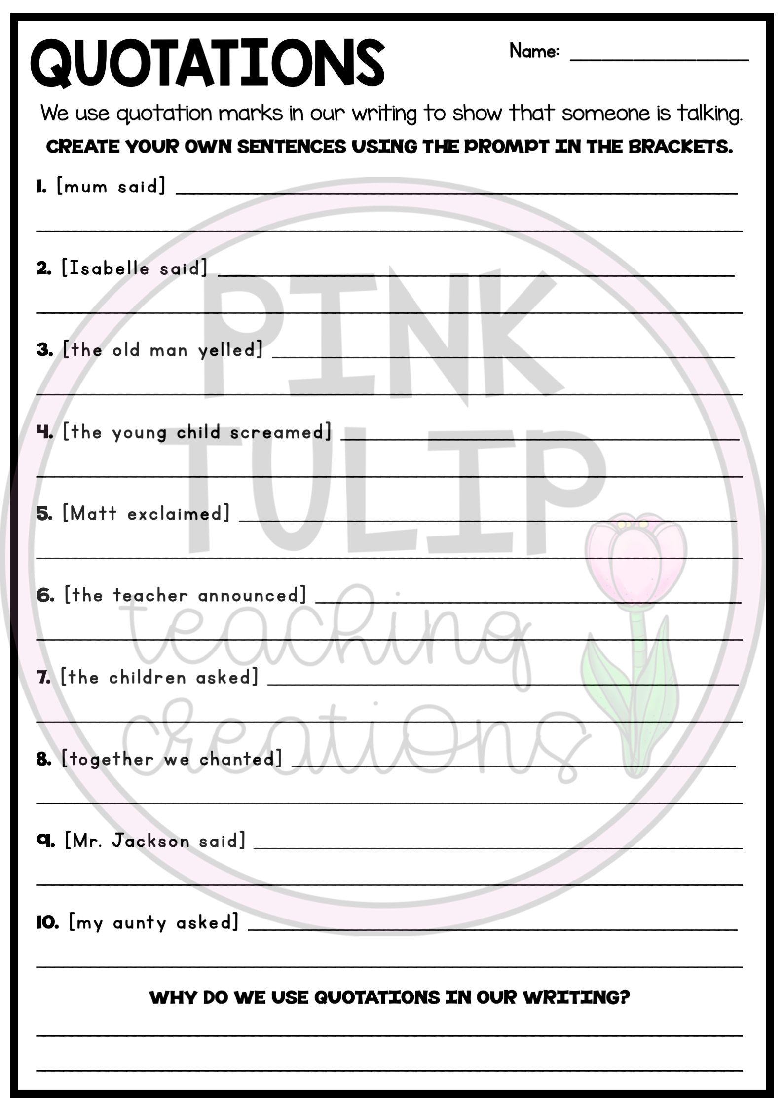 Using Quotations Worksheets