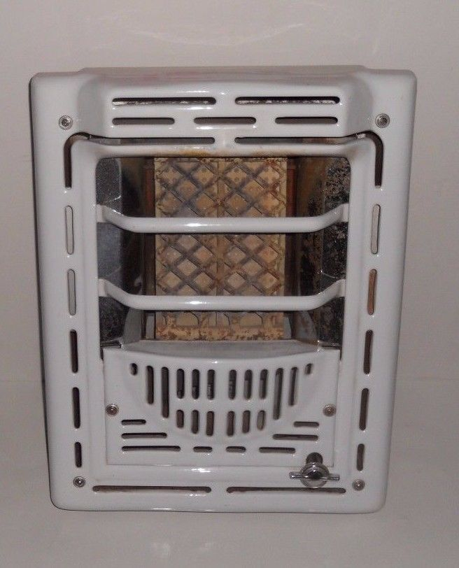 Vintage Rless Art Deco White Porcelain Enamel Gas Wall Mount Heater 7602