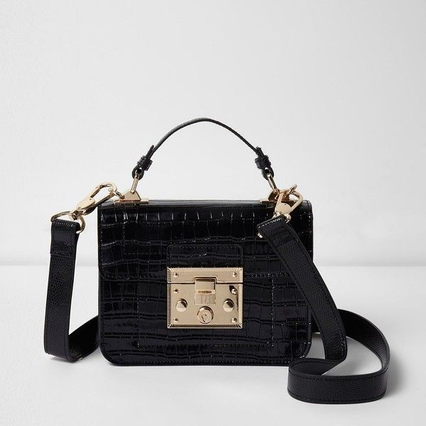 River Island Black Patent Croc Lock Front Cross Body Bag 48 Liked On