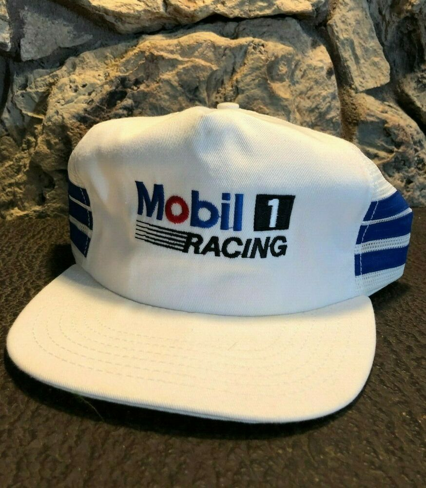 Vintage Mobil 1 Racing Trucker Hat Nascar Team Hat 80 S Hat White Made In Usa Adjustatab Truckerhat Vintage Trucker Hats Hats Trucker Hat