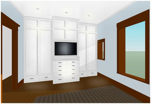 I like the tv integrated into closet design for the bedroom.
