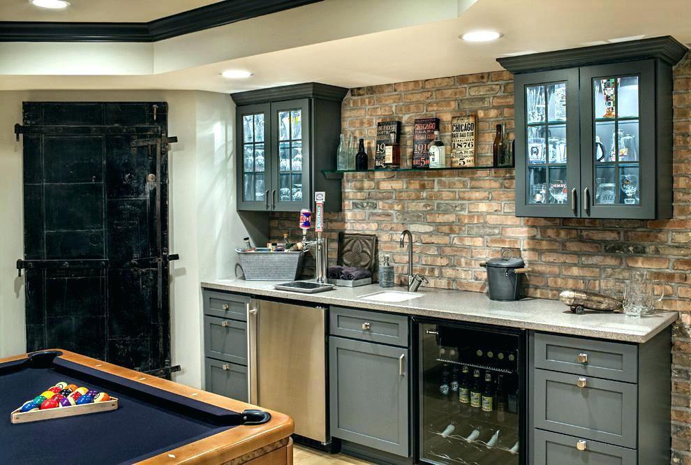 Game Room Bar Ideas Built In Wet Cabinets Modern Basement ...
