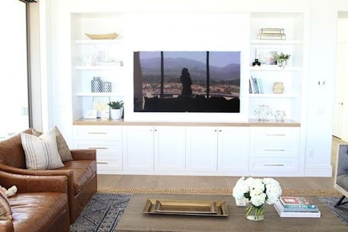 Living Room Styles · Built In Shelves Are My Favorite Way To Handle A Media  Wall. Clean And