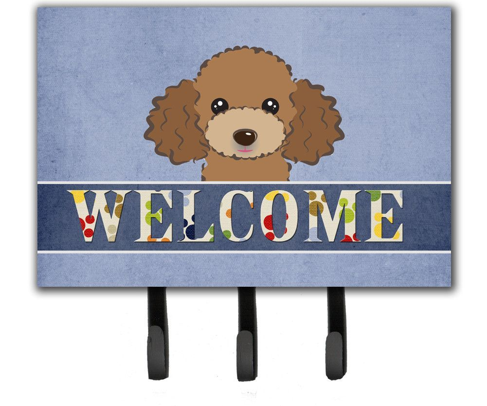 Chocolate Brown Poodle Welcome Leash or Key Holder BB1442TH68