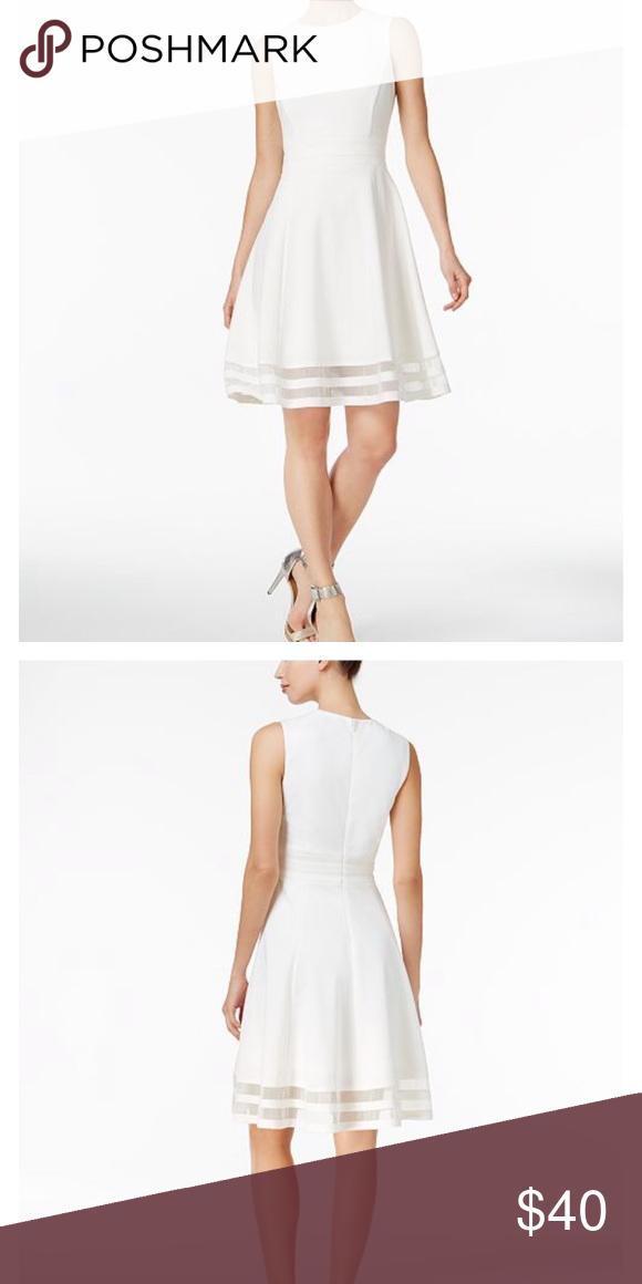 a38ba8a4a03 Calvin Klein Dress Calvin Klein Illusion-Trim Fit   Flare Dress Cream Calvin  Klein Dresses