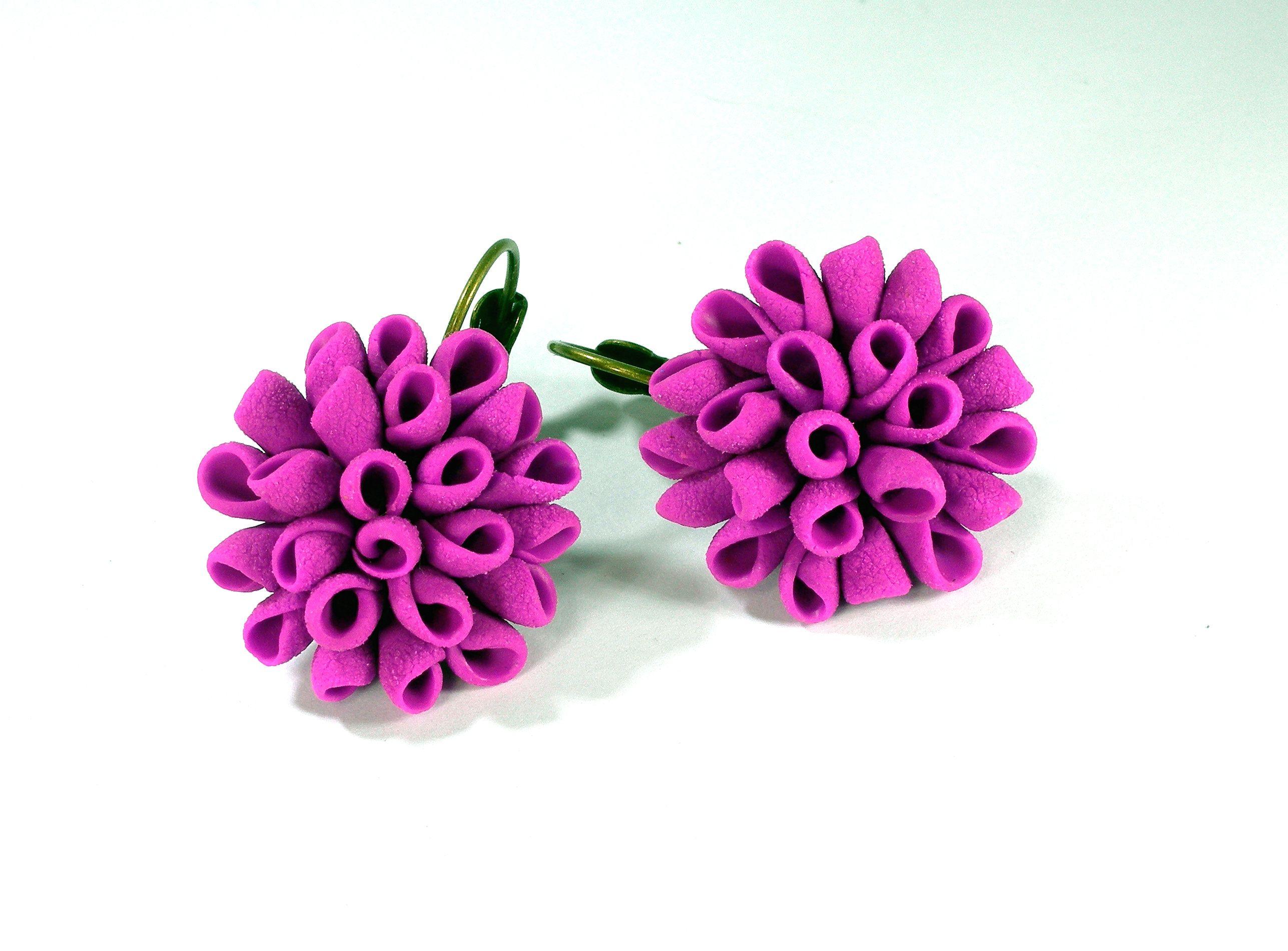 Fuchsia Flower Earrings Fashion Flower Jewelry Made From Polymer Clay Fuchsia Earrings Jewelry Flower Fas Flower Fashion Flower Jewellery Fuchsia Flower