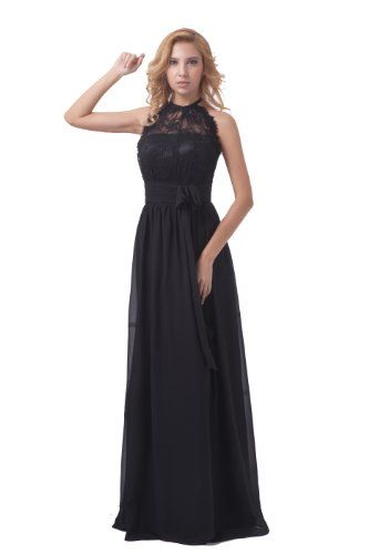 f6ae343ea66 Dresstells Halter Long Bridesmaid Dress Chiffon Formal Evening Gown Plus  Size US 2 Black Dresstells http