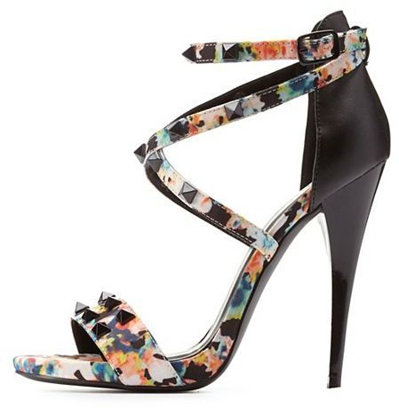 be58ab4c671 Qupid Studded Strappy Printed Heels Floral Print Shoes, Charlotte Russe  Shoes, Strappy High Heels